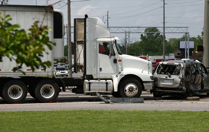 car and tractor trailer accident