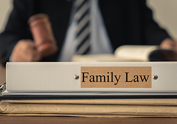 Family law sign with judge and gavel in background