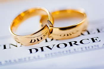 Rings over the word divorce
